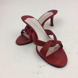 Nine West strappy red sandals kitten heels size 8